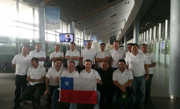 La delegación marianista en su escala, este miércoles, en Bogotá. (crédito foto: facebook Mario Farías)