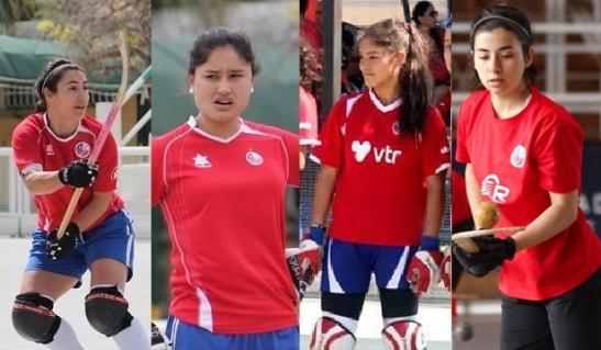 Alexa Tapia, Carolina Zúñiga, Gigliola Berloffa y Beatriz Gaete componen el bloque posterior del equipo.