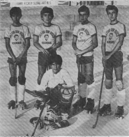 Quintento del colegio Don Bosco, otro de los clubes próceres del hockey iquiqueño.
